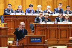 Romanian Parliament - Motion of no confidence against the Govern. Bucharest, Romania - February 08, 2017: Romanian Prime Minister, Sorin Mihai Grindeanu C royalty free stock images