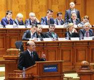 Romanian Parliament - Motion of no confidence against the Govern. Bucharest, Romania - February 08, 2017: Romanian Prime Minister, Sorin Mihai Grindeanu C royalty free stock image