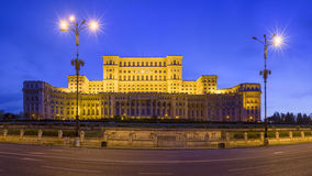 Romanian Parliament by night Stock Photography