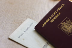 Romanian Passport and Birth Certificate Royalty Free Stock Photos