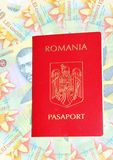 Romanian passport. And currency (Romanian Lei Royalty Free Stock Photography