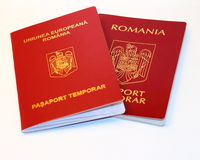 Romanian passport. The new and old  Romanian passport Royalty Free Stock Image