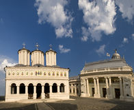 Romanian Patriarchal Cathedral. The Romanian Patriarchal Cathedral and the Palace of the Chamber of Deputies (left to right) atop the Patriarchate Hill in Royalty Free Stock Images