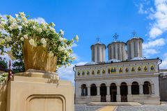 Romanian Patriarchal Cathedral on Dealul Mitropoliei 1665-1668, in Bucharest, Romania. Architectural details in close-up in a. Sunny day with a blue sky royalty free stock photography