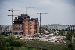 Romanian People`s Salvation Cathedral is in construction. View from the MNAC. stock photo