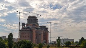Romanian People`s Under Construction Salvation Cathedral stock photos