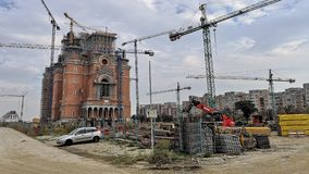 Romanian People`s Under Construction Salvation Cathedral stock images