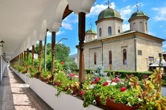 Romanian Places - Negru Voda Monastery. The monastery was founded in 1215 by Negru Voda,is a royal necropolis,here being entered Nicolae Alexandru Basarab (1352 Stock Photo