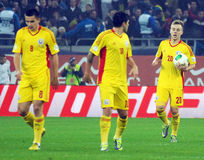 Romanian players react after their equalizer goal during FIFA World Cup Playoff Game Royalty Free Stock Image