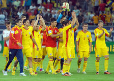 Romanian players salute fans after Romania-Hungary Stock Photos