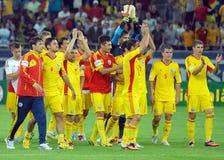 Romanian players salute fans after Romania-Hungary Stock Photos