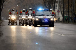 Romanian police in formation Royalty Free Stock Image