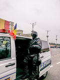Romanian police ,special force on vehicle Royalty Free Stock Photography