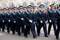 Romanian policemans march Stock Images