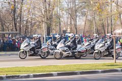 Romanian policemen on motorcycle Royalty Free Stock Photo