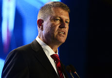 Romanian politician Klaus Iohannis. The president of National Liberal Party Klaus Iohannis pictured during the United Congress of National Liberal Party and Royalty Free Stock Images