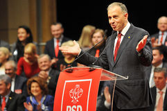 Romanian politician Mircea Geoana body languageduring speech Stock Image