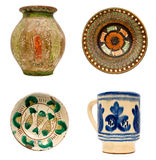 Romanian Pottery. Pottery with traditional Romanian motifs Stock Photo