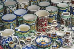 Romanian pottery: mugs Stock Images