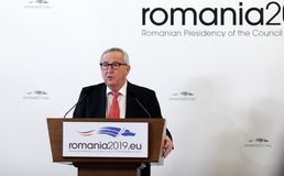 KLAUS IOHANNIS AND JEAN-CLAUDE JUNCKER MEETING AT COTROCENI PALACE. Romanian President Klaus Iohannis, not pictured and Jean-Claude Juncker the President of the royalty free stock images