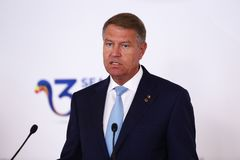 KLAUS IOHANNIS - THREE SEAS INITIATIVE BUSINESS FORUM IN ROMANIA. Romanian President Klaus Iohannis pictured during a press statement at the Three Seas royalty free stock photos