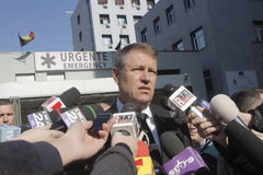 Romanian President visits the wounded of Bucharest Colectiv nightclub fire Stock Image
