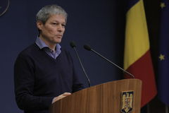 Romanian Prime Minister Dacian Ciolos press conference Stock Photo