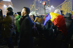 Romanian protests. 01 February 2017-Romania, Bucharest. The Victory square with high traffic and a bus standing out between all the cars. Captured just before Stock Photos