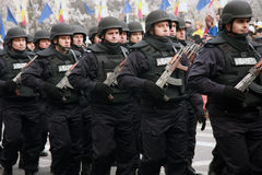 Romanian riot policemans march, National Day. Romanian riot policemans marching in Alba Iulia, 1 December, National Day stock image