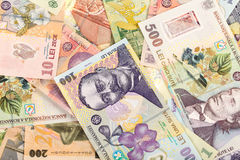 Romanian RON background. Lots of romanian money banknotes background Royalty Free Stock Image