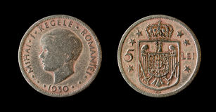 Romanian royal coins. Romanian royal coin of 5 lei Stock Images