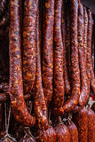 Romanian sausages (carnati), smoked and dried-2 Stock Photos