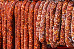 Romanian sausages (carnati), smoked and dried-1 Royalty Free Stock Photography