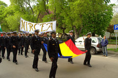 Romanian seamen on parade Stock Images