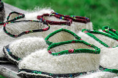 Romanian shoes of peasant Stock Images