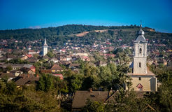 Romanian small town. View of the small town in romanian countryside Stock Image