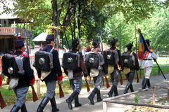 Romanian soldiers of WWI. Strutting on the alley at  Village Museum in Bucharest,Romania Royalty Free Stock Photos