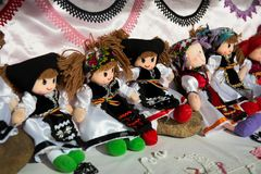Romanian souvenir dolls in traditional costumes Stock Photos