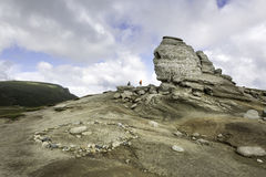 Romanian Sphinx, geological phenomenon formed through erosion and a center of energy. Bucegi Mountains Stock Photography