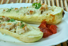 Romanian Stuffed zucchini with cheese. Dovlecii umpluti cu carne.Stuffed zucchini with cheese.Romanian cuisine Stock Image