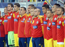 Romanian substitute players in Romania-Turkey World Cup Qualifier Game Stock Photos