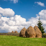 Romanian summer landscape with haystacks. Loose stacked hay built around a central pole in Carpathian Mountains, Romania Royalty Free Stock Photo