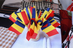 Romanian table flags Royalty Free Stock Photos