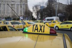 Romanian taxi drivers protest Stock Photo