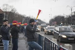 Romanian taxi drivers protest Stock Photos