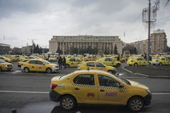 Romanian taxi drivers protest Stock Photography