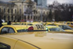 Romanian taxi drivers protest Stock Image