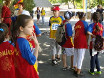 Romanian children marathoners Stock Images