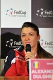 Romanian tennis player Alexandra Dulgheru during a press confere. CLUJ-NAPOCA, ROMANIA - APRIL 13, 2016: Romanian tennis player Alexandra Dulgheru answering Royalty Free Stock Photography