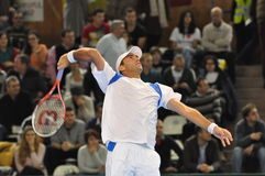 Romanian tennis player Horia Tecau in action at a Davis Cup match Royalty Free Stock Images